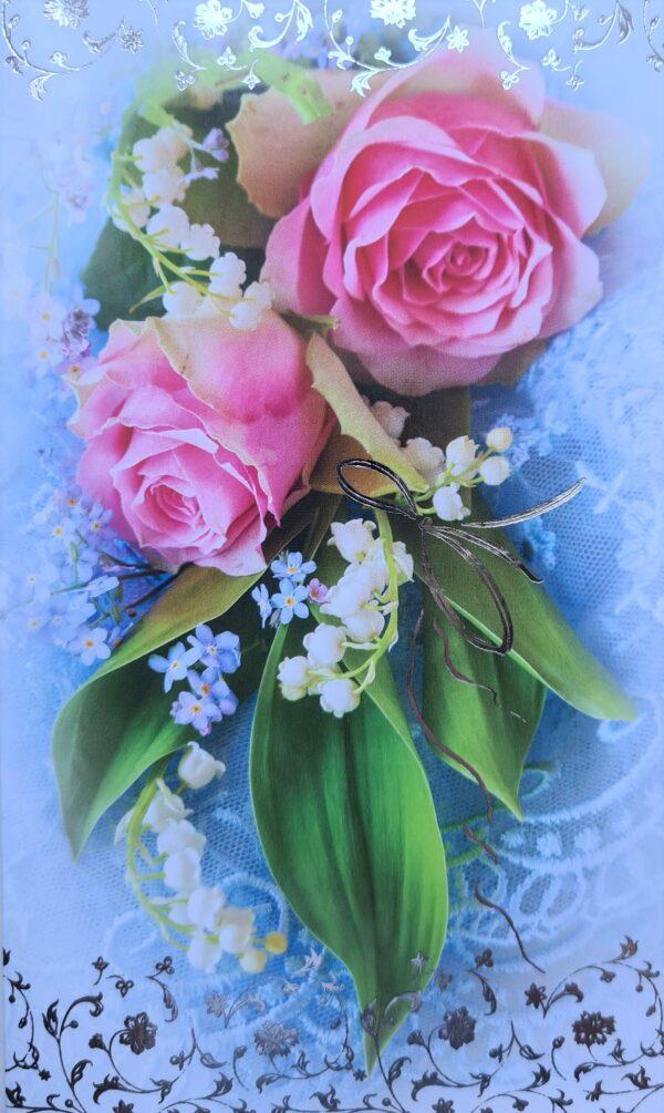 """Õnnitluskaart """"Piibeleht ja roos"""""""